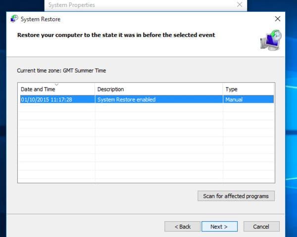 Χρησιμοποιήστε την Επαναφορά Συστήματος στα Windows 10