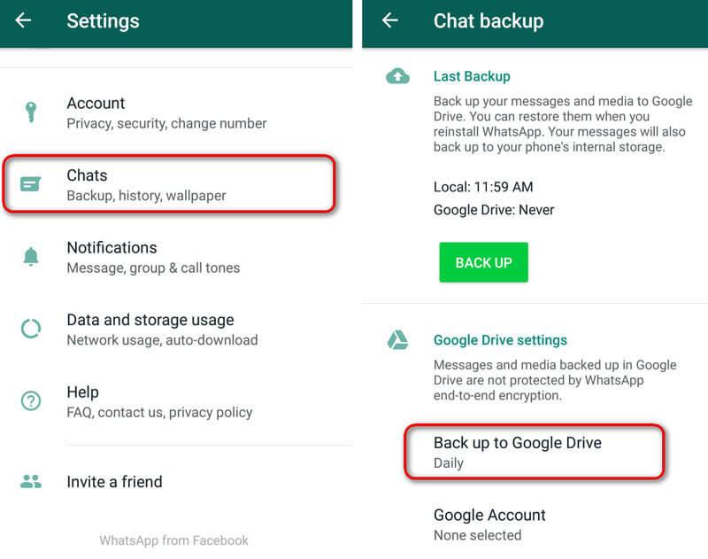 Schakel Chat Backup in