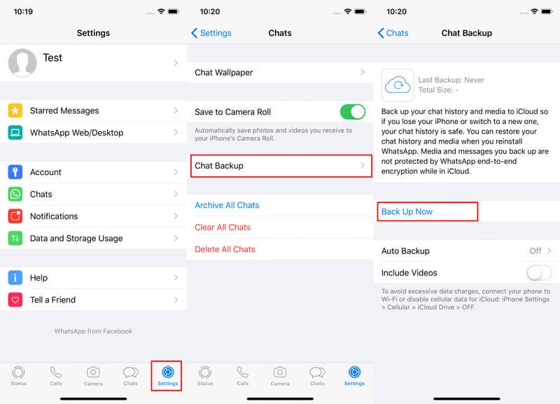 Effettua manualmente il backup dei dati di Whatsapp