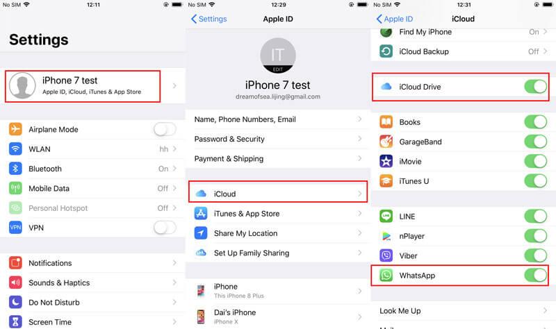 Ενεργοποιήστε το iCloud Drive Whatsapp