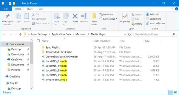Διαγραφή αρχείων Wmdb του Windows Media Player