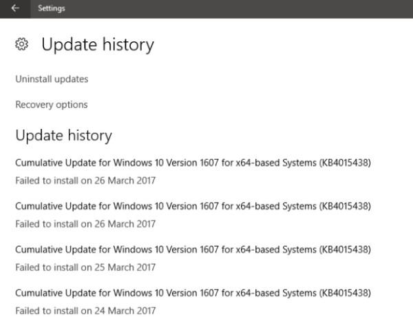 Ιστορικό ενημερώσεων των Windows 10