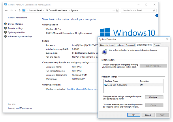 Ripristino configurazione di sistema di Windows