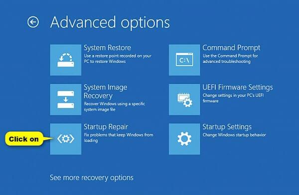 Kliknij opcję naprawy przy uruchamianiu w systemie Windows 10