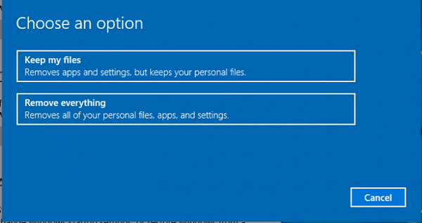 Zresetuj system Windows 10