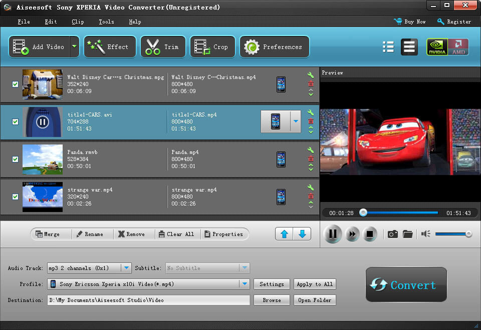 Aiseesoft Sony XPERIA Video Converter Screenshot