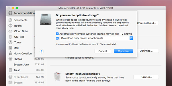 Ottimizza l'archiviazione su Mac per velocizzare il Mac
