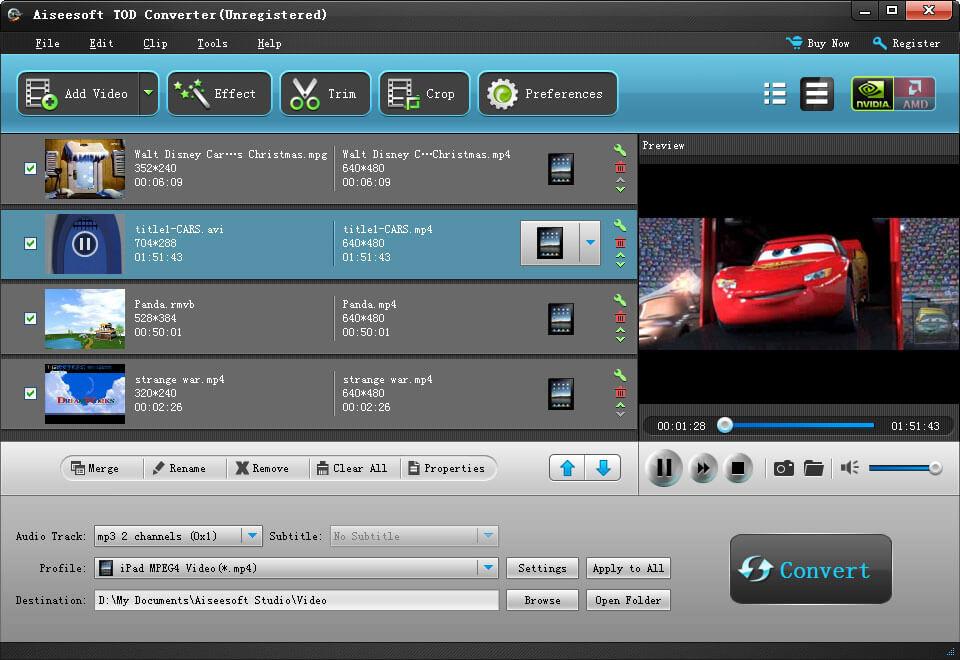 Aiseesoft TOD Converter screenshot