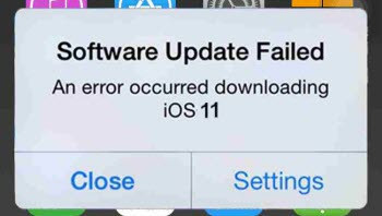 iOS 11 Software Update Failed