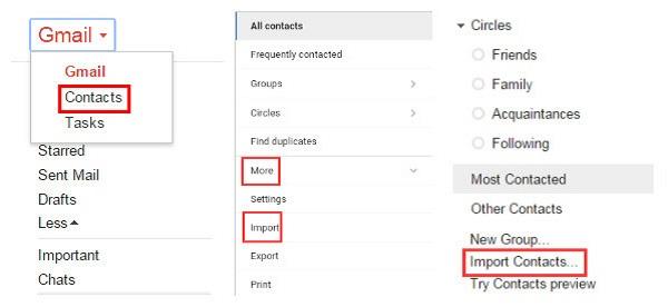 Εισαγωγή επαφών από το Gmail για μεταφορά επαφών iPhone σε Android