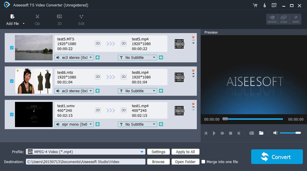 Aiseesoft TS Video Converter full screenshot