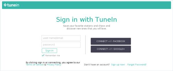 Σύνδεση ραδιοφώνου TuneIn
