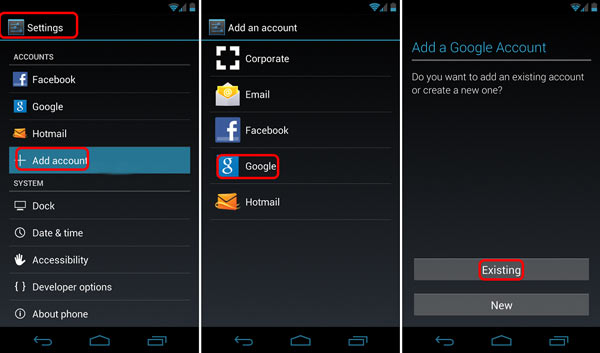 Add Google Account on Android