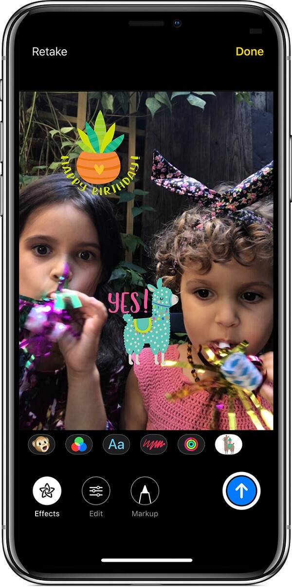 Ios12 iphone x messages send message with camera effect