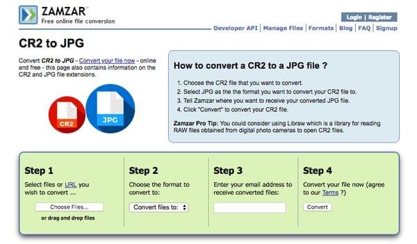 Convertitore online da Zamzar CR2 a JPG