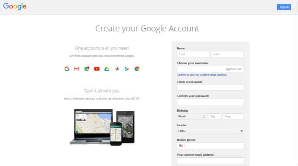Utwórz konto Google