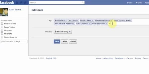 Modifica note di Facebook