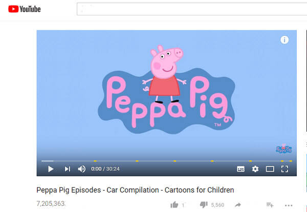 Copia l'URL di Peppa Pig YouTube