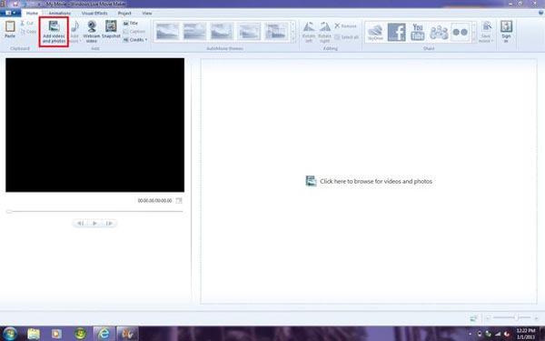 Importujte obrázky do programu Windows Movie Maker