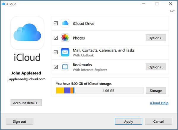 Ρυθμίσεις iCloud για Windows