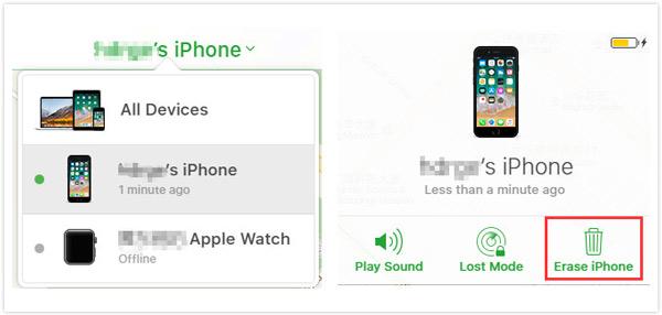Wymaż iPhone'a za pomocą Find my iPhone