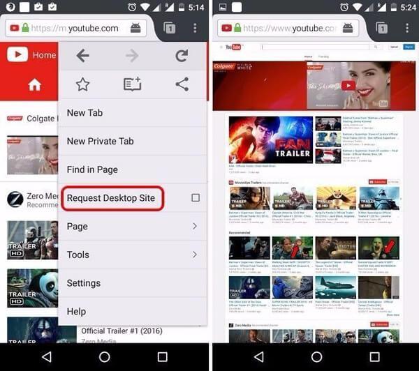 Firefox中的YouTube桌面網站
