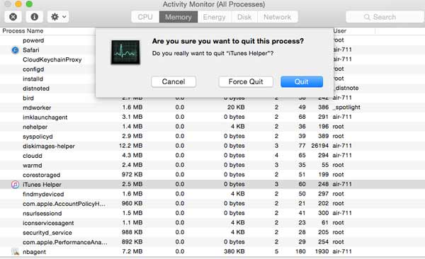 Find iTunes Helper and Quit Process