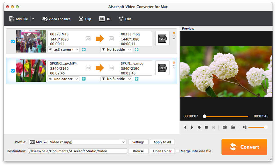 Aiseesoft Video Converter for Mac Screen shot