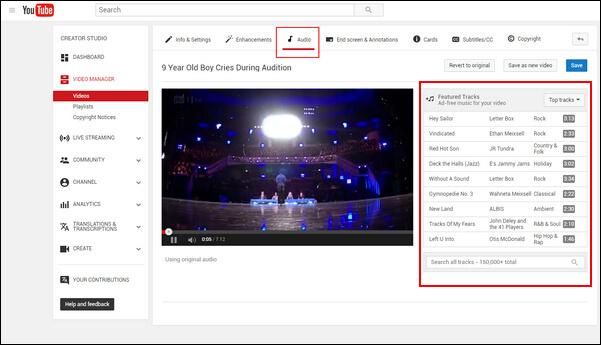 Scegli la musica da aggiungere su YouTube