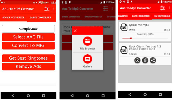 Converti file AAC in MP3 Android