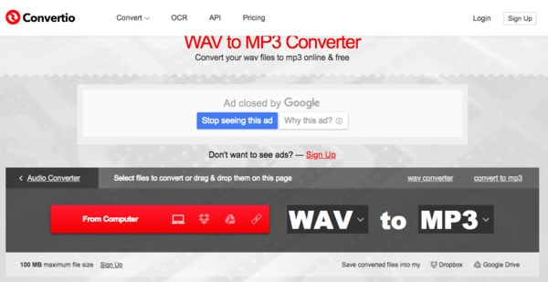 Convert WAV to MP3 with Convertio