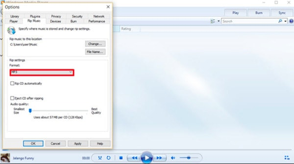 Converti WMA in MP3 Windows Media Player