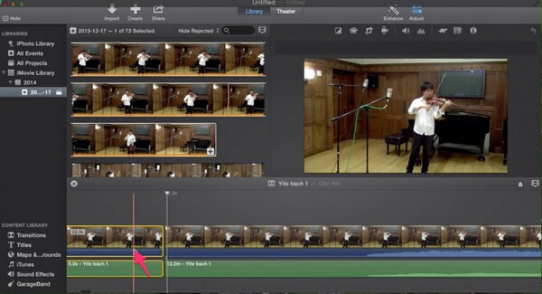 Elimina la clip audio in iMovie
