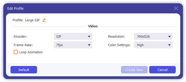 GIF Profile Settings