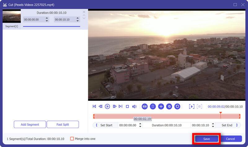 Salva video tagliato