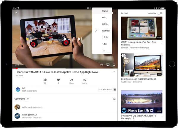 Velocizza i video di YouTube su iPad