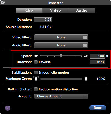Velocizza i video in iMovie