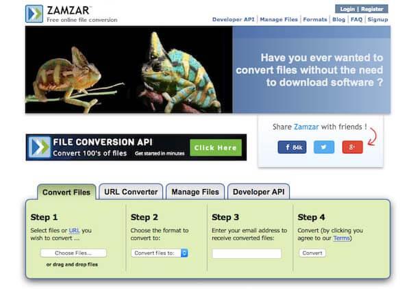 Converti FLAC in WAV con Zamzar
