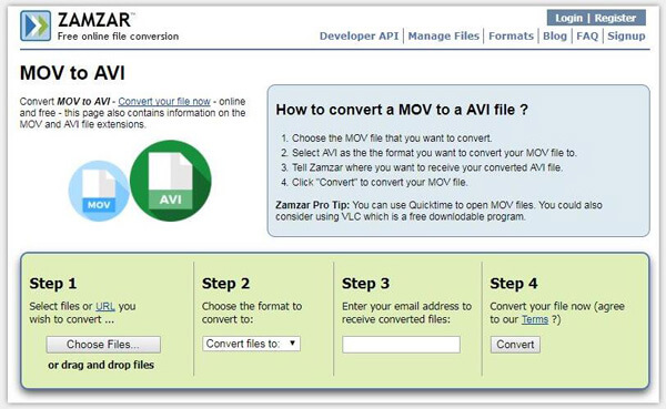 convert avi file to mov