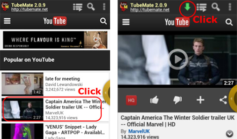 Choose YouTube Video From TubeMate