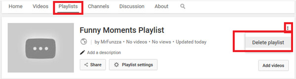 Διαγραφή της λίστας αναπαραγωγής YouTube