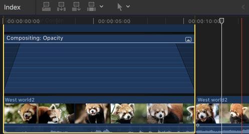 Προσθήκη μετάβασης χρησιμοποιώντας συντόμευση στο Final Cut Pro