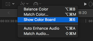 Show Color Board in Final Cut Pro
