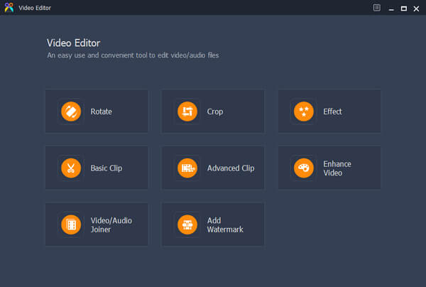 Interfaccia dell'editor video AVI