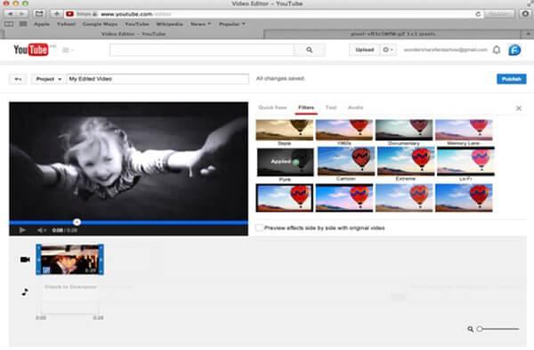 Przycinanie wideo za pomocą edytora wideo YouTube