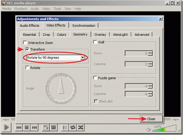 Obróć wideo w VLC