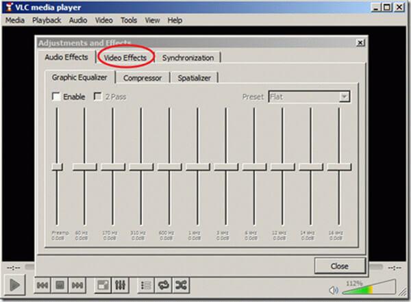 Obracanie efektów wideo VLC