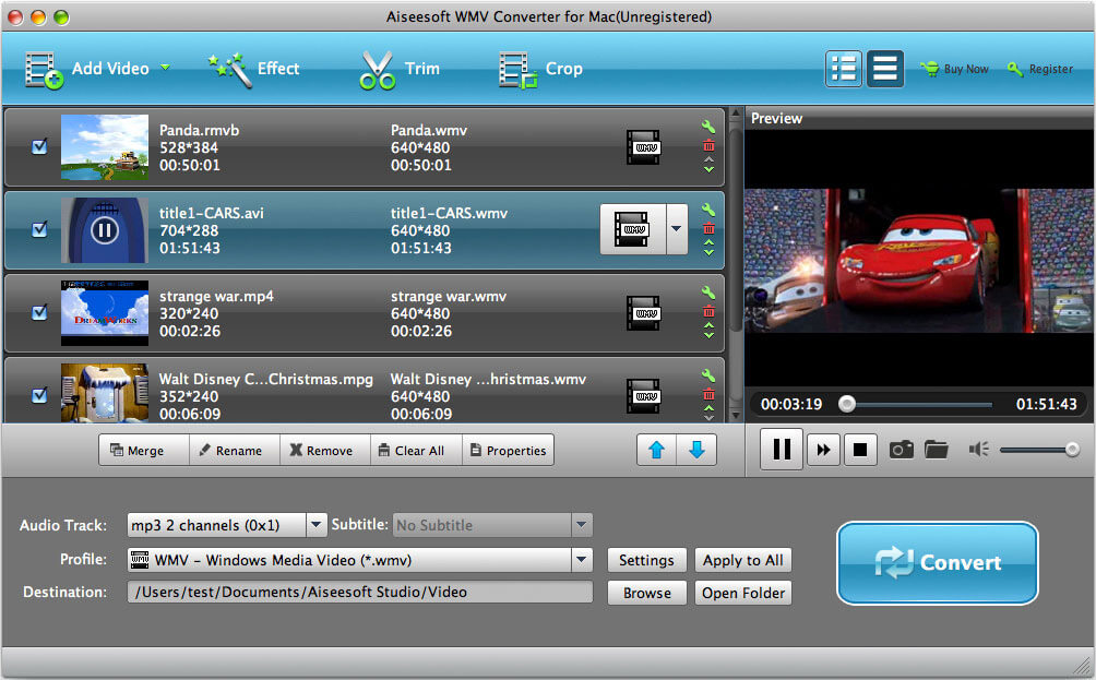 Aiseesoft WMV Converter for Mac Screen shot