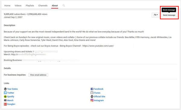 Wysyłaj wiadomości z YouTube