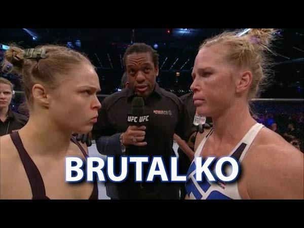 Holly Holm schokt Ronda Rousey via brute hoofdschop